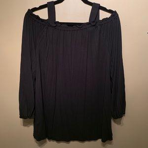 LOFT Black Off The Shoulder Long Sleeve Top